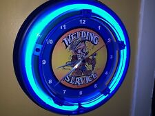 Welding Service Welder Fabricator Advertising Man Cave Blue Neon Wall Clock Sign