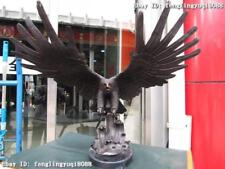 "25"" Large Pure Bronze spread the Fly wings Eagle hawk Bird Art Statue"