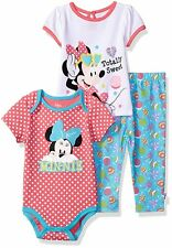 NWT Disney Baby Girls' Minnie Mouse 3-Piece T-Shirt, Bodysuit, and Pant Set 3/6m