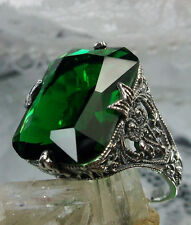 12ct Emerald Sterling Silver Floral Art-Deco/Edwardian Filigree Ring Size 5
