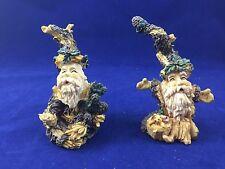 Two Resin Woodland Christmas Holiday Santa Figurines Very Nice