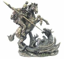 St. George & Dragon. On Horse and with Spear Bronzed Figurine. Veronese 95858