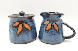 Studio Art Pottery Signed Creamer & Covered Sugar Blue with 3 Leaves Signed
