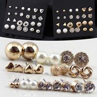 12 Pair Fashion Lady Rhinestone Crystal Pearl Stud Earrings Set Jewelry T Gift