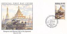 W35 1-1 Isole Marshall FDC COVER 1992 Rangoon & Birmania spetta al giapponese