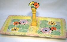 ART DECO  CORONET WARE PARROTT & CO FLOWER GARDEN CAKE / SANDWICH STAND / PLATE