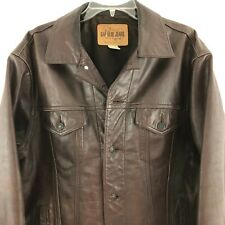 GAP Blue Jeans Leather Biker Trucker Jacket Size L Brown Leather Nice.