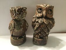 """Two different Wilson Craft Owl figurines - 3 1/2""""  - 1971- Fortville Indiana -"""