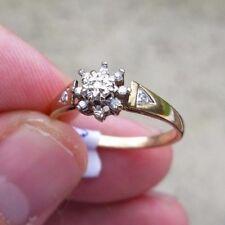 9ct Oro Diamante Grappolo Anello Taglia O