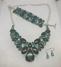 925 Sterling Silver Turquoise Topaz Necklace Bracelet Earrring Set Indonesia