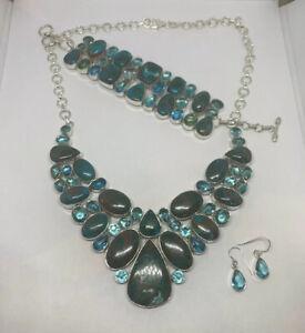 Turquoise Topaz 925 Sterling Silver Necklace Bracelet Earrring Set Indonesia
