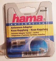 Antennen-Adapter Koax-Kupplung Buchse HAMA 43490 Antenne SAT Silber Koaxial NEU