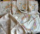 VTG ARTS & CRAFTS Embroidered LINENS LOT PROJECT TO FINISH SOCIETY RUNNERS ROUND