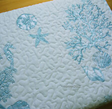 Sigrid Olsen BLUE 3pc QUEEN QUILT SET Coral Fish Sea Shell Beach COASTAL Cotton