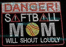 "HOTFIX RHINESTONES HEAT TRANSFER ""DANGER SOFTBALL MOM"""