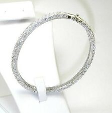 MICRO PAVE CUBIC ZIRCONIA ETERNITY DOME STERLING SILVER BANGLE BRACELET