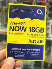 NEW O2 18GB Latest Bundle iphone Sim Card Pay As You Go Micro Nano PAYG  offer