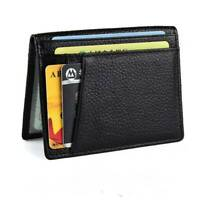 Men's Soft Genuine Leather Pocket Wallet Slim Case Mini ID Credit Card Holder