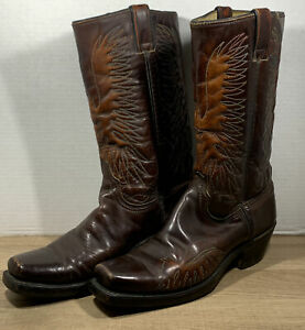 Vintage Wrangler Western Boots 5630 Size 9.5 B Brown Rainbow Stitch Made In USA