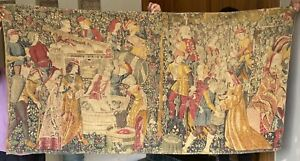 Antique French Tapestry Rare Aubusson Style - 98 By 190 Cm With Back Cover Loop