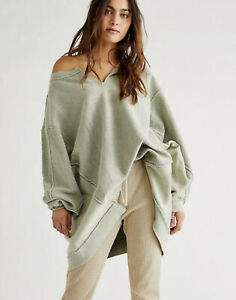 Free People Sweatshirt Pullover With The Band Oversize Green Tea Leaf S NWT