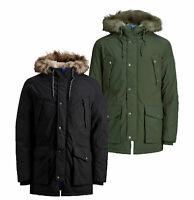 Jack & Jones New Mens Winter Parka Jacket Hooded Outdoor Coat Fur Black Khaki