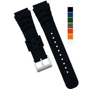 Soft Silicone Watch Band - Divers Style Replacement Strap - Quick Release 7S26
