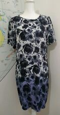M&S Collection Black White Grey Lilac Floral Short Sleeved Shift Dress Size 12