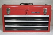 Craftsman Metal Portable 3-Drawer Tool Box, Lockable, Lined, Red