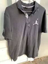Nike Air Jordan Jumpman S/S Black Gray Polo Shirt #23 Size Large