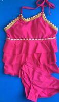 Justice Girls Pink Tankini Swim Suit Wear Swimwear Size 8 New 2 Piece Bathing