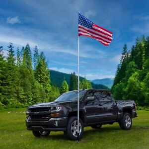 20 FT Portable Telescoping Aluminum Flagpole and US Flag for Campers