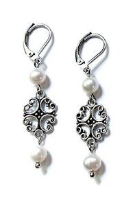 Pearl Leverback Dangle Earrings Womens Freshwater Pearl Earrings Handmade in USA