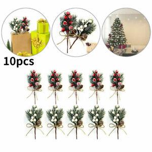 Berry Branch Christmas 10X Xmas Decor Pick Artificial Pine Holly Flower Ornament