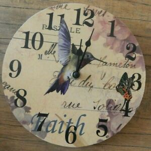 COLOURFUL HUMMING BIRD & BUTTERFLY WALL CLOCK ROUND UK SELLER