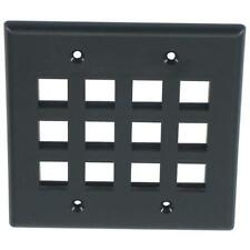 One Keystone Wall Plate 2 Gang Black choose 8 or 12 port *WIDE JACKS FIT*