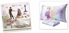 NEW DISNEY TANGLED RAPUNZEL MICRO MINK FITTED SHEET PILLOWCASE & DECALS 3 PC SET