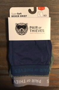 2 Pack Mens Pair of Thieves SuperSoft Boxer Brief Underwear Navy & Green Size S