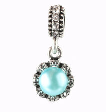 925 Silver pearls Lake blue Charm Beads Fit European Charm Bracelet  #E401