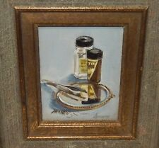 SPEERY SMALL OIL ON CANVAS COSMETIC MIRROR SCENE PAINTING