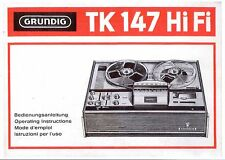Grundig  Bedienungsanleitung user manual owners manual  für TK 147 HiFi