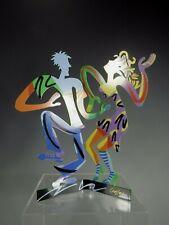 Israel Israeli Polychrome Metal Dancing Figures signed David Gerstein  b.1944