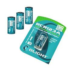 Four Geniune Olight RCR123A (16340) Li-ion protected rechargeable batteries