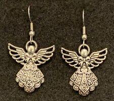 ANGEL Earrings Stainless Hook Filigree Wings Bow Prayers Blessed Gift