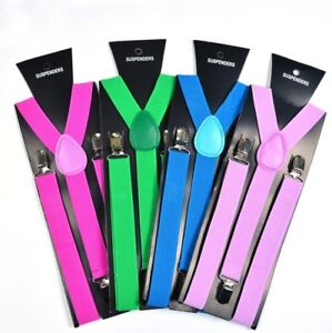 Men women formal wedding party adjustable braces clip on suspenders trousers
