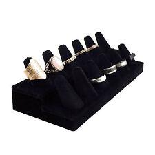 12 Ring Finger Black Velvet Jewelry Display Holder Stand Showcase Retail Supply