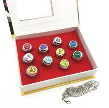 DZ787 Cosplay Naruto Akatsuki 10 Gold Rings Sets And Necklace With Box ^