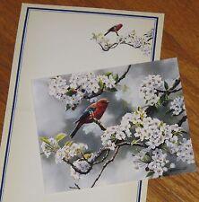 Susan Bourdet Art - Spring Visitor bird flower blossoms - vtg Lang Note Card 4ct