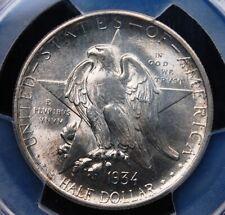 1934 TEXAS COMMEMORATIVE HALF DOLLAR PCGS MS 65 LUSTROUS WHITE GEM HINT OF GOLD