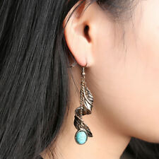 Vintage Tibet Silver Leaf Dangle Earrings Turquoise Natural Stone Ethnic Earring
